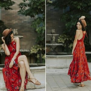 Free People Printed strappy Maxi